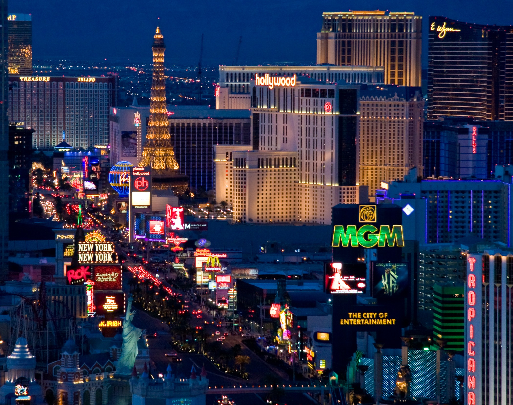 The Las Vegas Strip at dusk